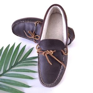 LL Bean Handsewn Leather Slippers Fleece Lined 11